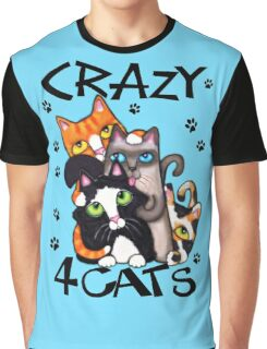 Crazy Cat Lovers Kitty Art Graphic T-Shirt