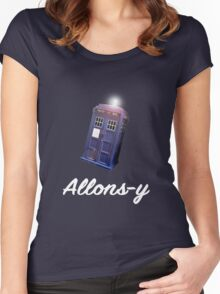 """""""Allons-y!"""" Public Call Box. Women's Fitted Scoop T-Shirt"""