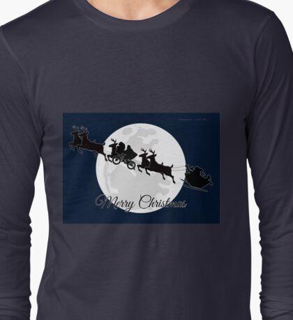 Silhouetted Santa, Reindeer, Et Al. Long Sleeve T-Shirt