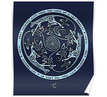 Feline Triskele (Blue) Poster