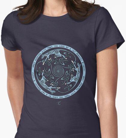 Feline Triskele (Blue) Womens Fitted T-Shirt