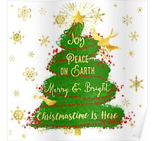 Christmas Tree sentiment art, golden snowflakes Poster