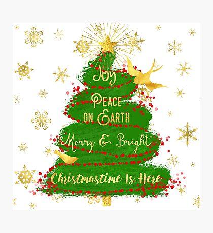 Christmas Tree sentiment art, golden snowflakes Photographic Print