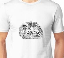 Aspire to Inspire Zentangle Quote Unisex T-Shirt