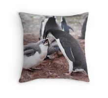 "Chinstrap Penguin and Chick ~ ""Al fresco dining"" Throw Pillow"