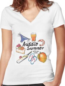 Aussie Summer with your mates Women's Fitted V-Neck T-Shirt