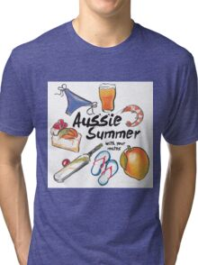 Aussie Summer with your mates Tri-blend T-Shirt