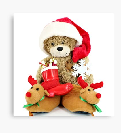 teddy-bear Santa Claus Canvas Print