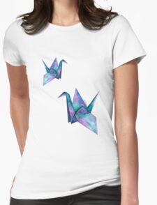 galaxy paper cranes Womens Fitted T-Shirt