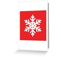 White Snowflake with Red Background Greeting Card