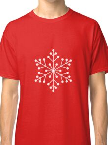 White Snowflake with Red Background Classic T-Shirt