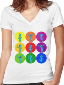 Meeseeks Bubbles Women's Fitted V-Neck T-Shirt