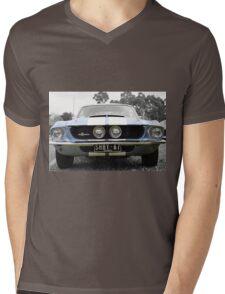 Full Frontal - Blue Mustang Mens V-Neck T-Shirt