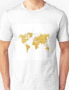 World Map Gold Vintage T-Shirt
