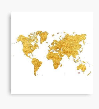 World Map Gold Vintage Canvas Print