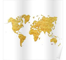 World Map Gold Vintage Poster