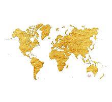 World Map Gold Vintage Photographic Print