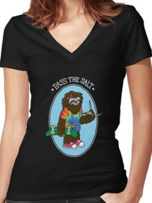 Stoner Sloth - Pass The Salt (for black shirts) Women's Fitted V-Neck T-Shirt