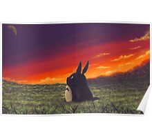 Sunset on Totoro Hill Poster