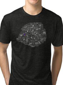 Paris Map typographic underground stations Tri-blend T-Shirt