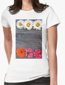Old boards with flowers vintage concept T-Shirt