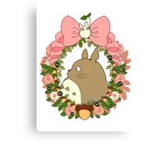 Totoro Ribbon Wreath Canvas Print