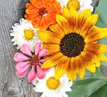 Old boards with sunflowers vintage concept by juras