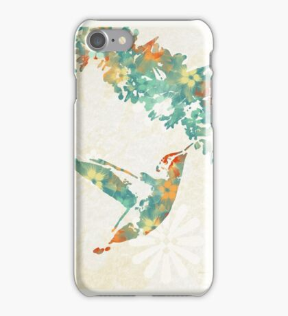 Teal Floral Hummingbird iPhone Case/Skin