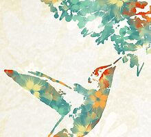 Colorful Teal Floral Hummingbird Art  by Christina Rollo