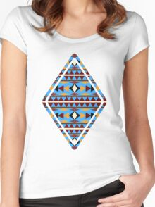 Navajo Blue Pattern Women's Fitted Scoop T-Shirt