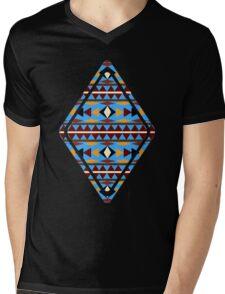 Navajo Blue Pattern Mens V-Neck T-Shirt