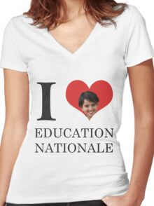 I Love Education Nationale Women's Fitted V-Neck T-Shirt