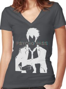 Psycho Pass Shinya Kogami White Women's Fitted V-Neck T-Shirt