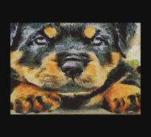 Impressinist Rottweiler Puppy Portrait in Vincent van Gogh Style One Piece - Short Sleeve