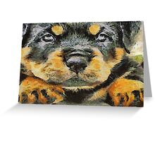 Impressinist Rottweiler Puppy Portrait in Vincent van Gogh Style Greeting Card