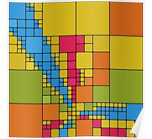 Colorful squares abstract design Poster