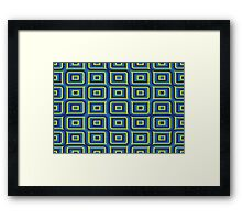 Blue yellow rectangles pattern Framed Print