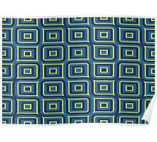 Blue yellow rectangles pattern Poster