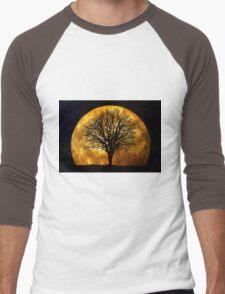 Tree and Moon  Men's Baseball ¾ T-Shirt
