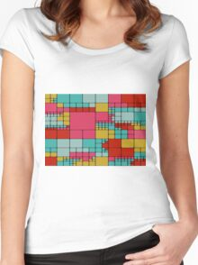 Colorful squares abstract design Women's Fitted Scoop T-Shirt