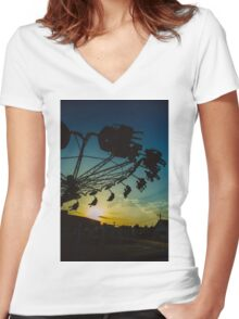 Amusement park sunset Women's Fitted V-Neck T-Shirt