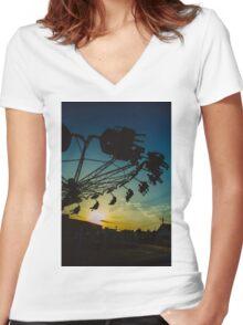 Amusement park sunset Women's Fitted V-Neck T-Shirt