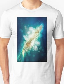 digitally manipulated flowering Reeds growing on a river bank T-Shirt