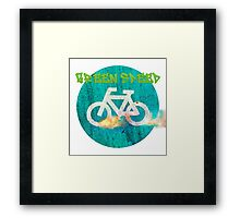 Green speed blazing bicycle wheels  Framed Print