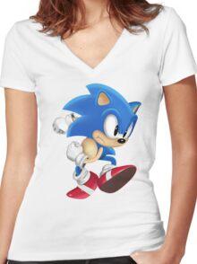 Sonic Runner Women's Fitted V-Neck T-Shirt