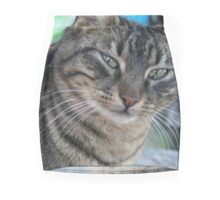 Inquisitive Tabby Cat With Green Eyes Mini Skirt