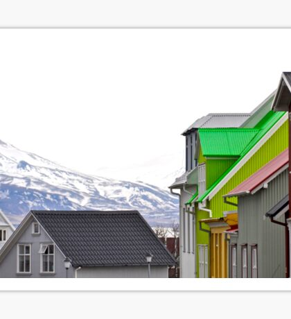 Colorful Streets of Reykjavik with Mountains Sticker