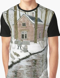 Children Building A Snowman Graphic T-Shirt