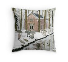 Children Building A Snowman Throw Pillow