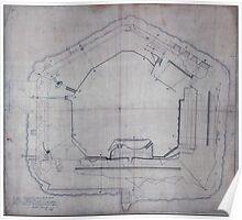 Civil War Maps 2178 Plan of Fort Sumter South Carolina surveyed March 20th 22 27 1865 Poster